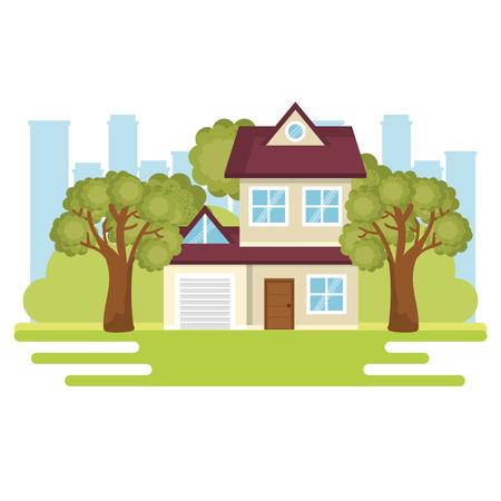 A landscape with house scene vector illustration design Ilustração