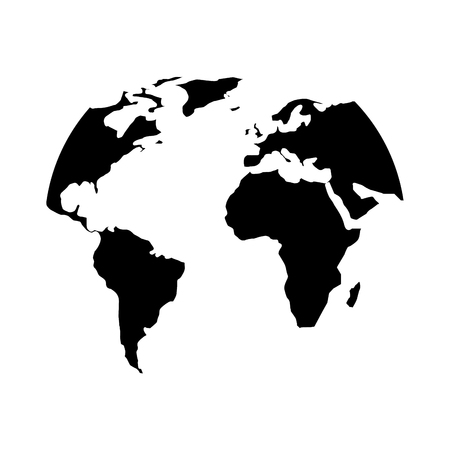 silhouette world map location planet vector illustration black and white design