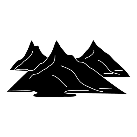 silhouettes of hills and mountains natural vector illustration black and white design