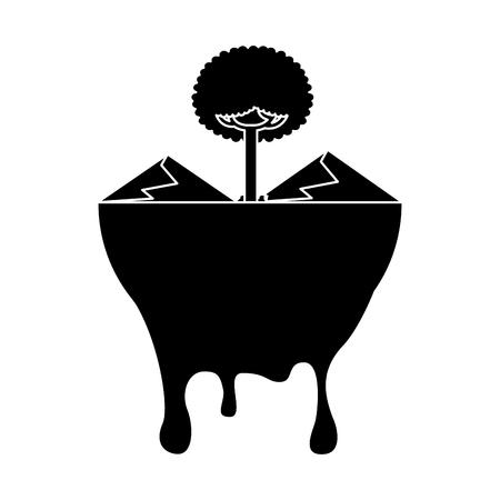 leafy tree mountains melted landscape warning vector illustration black and white design