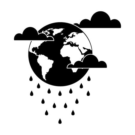 globe planet world cloud rain storm vector illustration black and white design Stock Illustratie
