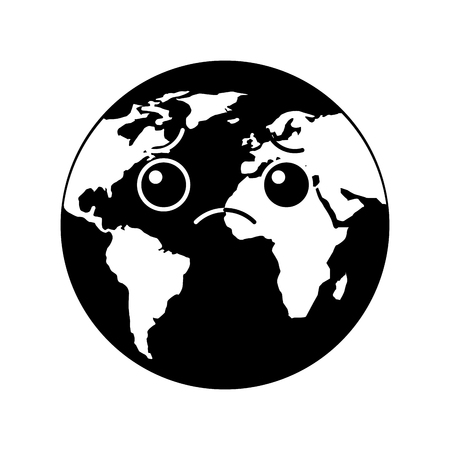 cartoon earth globe planet sad character vector illustration black and white design