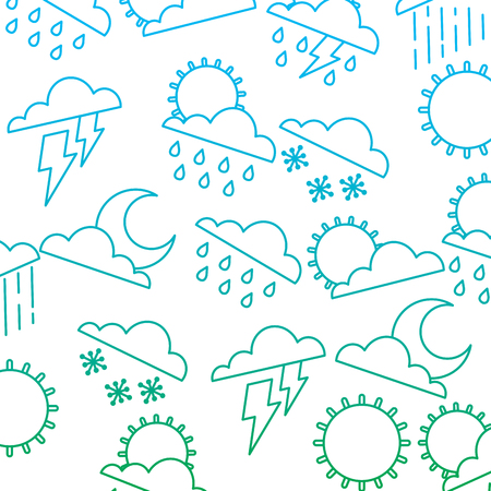 weather clouds sun moon storm lightning rain drops background vector illustration degrade color line Çizim