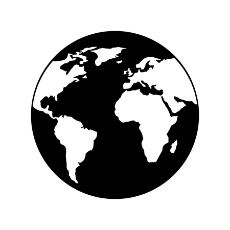 globe world earth planet map icon vector illustration black and white design