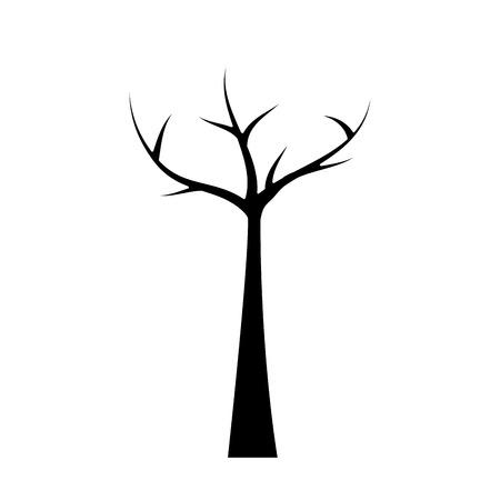死枝を持つ木ドライエコロジーベクトルイラスト黒と白のデザイン