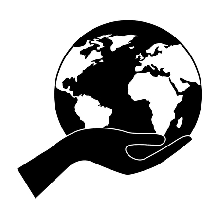 human hand holding earth globe world vector illustration black and white design Illustration