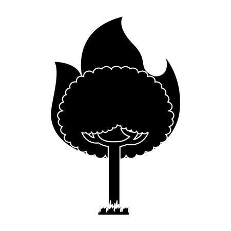 round fire tree burning damage ecology vector illustration black and white design Vectores