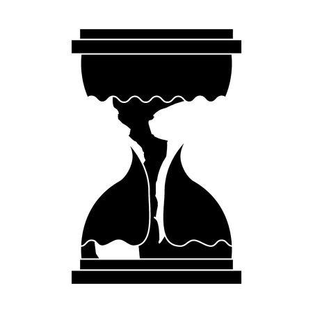 hourglass with a earth globe flowing melting vector illustration black and white design