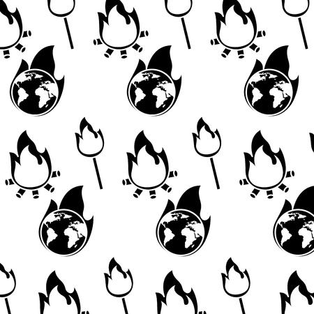 burning earth globe bonfire flame disaster pattern image vector illustration Illustration