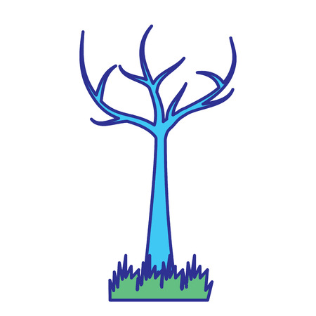 tree with dead branches dry ecology vector illustration blue green design 일러스트