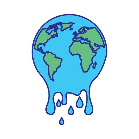 melting globe planet earth warming environment concept vector illustration blue green design Illustration