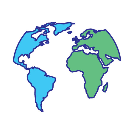 silhouette world map location planet vector illustration blue green design Ilustração