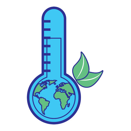 earth planet inside thermometer leaves environment warning symbol vector illustration blue green design