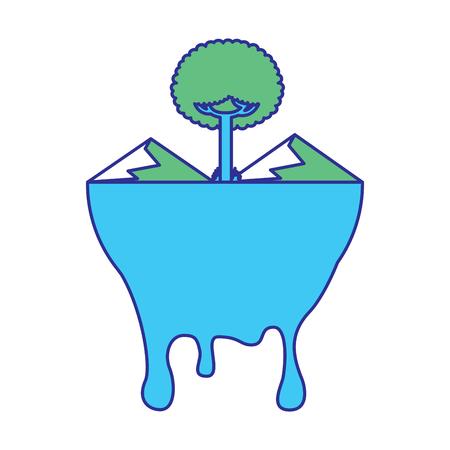 leafy tree mountains melted landscape warning vector illustration blue green design Reklamní fotografie - 96155516