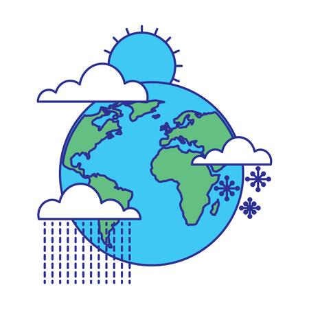 weather world earth winter rain sun snow vector illustration blue green design Illustration