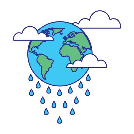 globe planet world cloud rain storm vector illustration blue green design Stock Illustratie