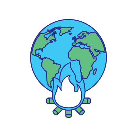 earth world globe with fire burning for climate change disasters vector illustration blue green design 일러스트