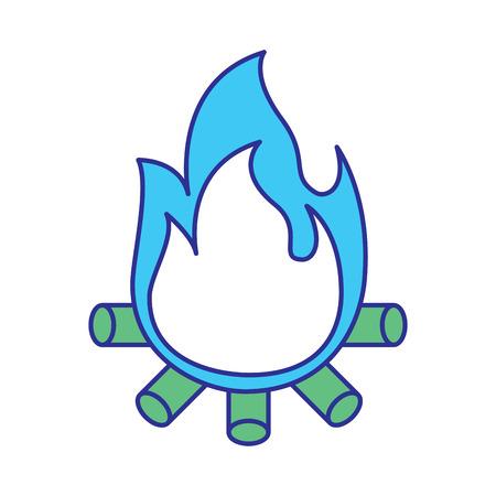burning bonfire flame with wooden sticks vector illustration blue green design Illustration
