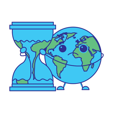 cartoon sad earth planet embrace hourglass clock vector illustration blue green design Illustration