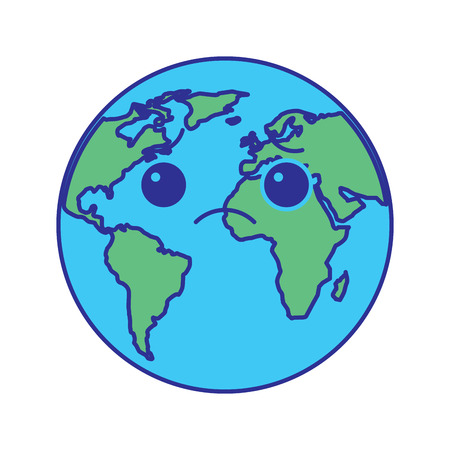 cartoon earth globe planet sad character vector illustration blue green design Illustration