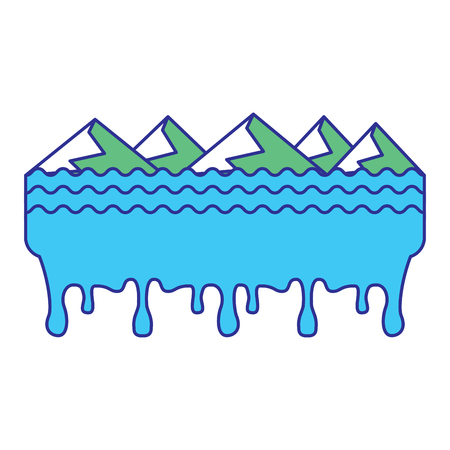 melted landscape mountains water disaster vector illustration blue green design