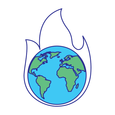 earth on fire planet is burning disaster warning vector illustration blue green design