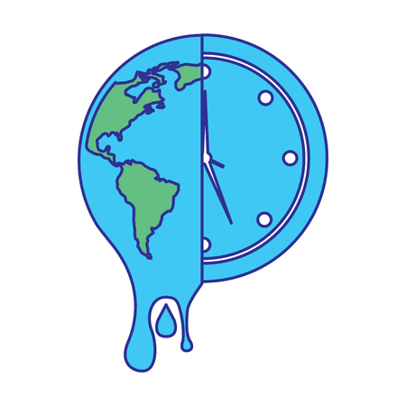 melting earth planet and clock time environment vector illustration blue green design Ilustrace