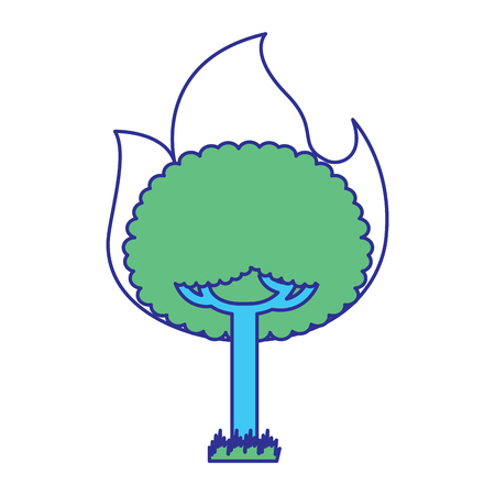 round fire tree burning damage ecology vector illustration blue green design