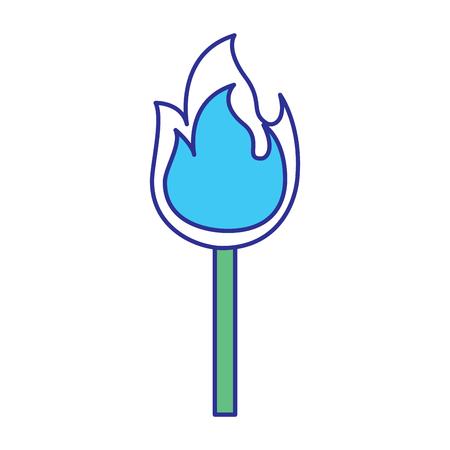 fire stick burn hot flame icon vector illustration blue green design Illustration