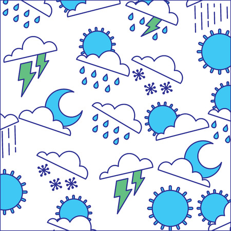 weather clouds sun moon storm lightning rain drops background vector illustration