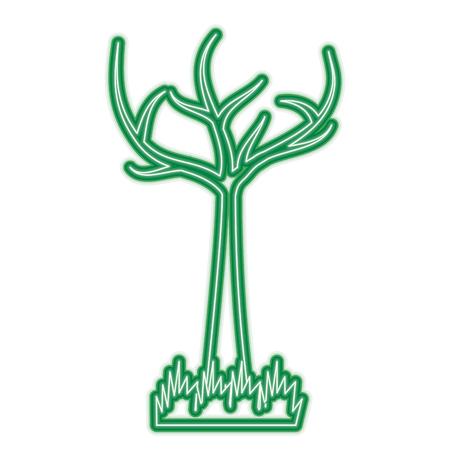 死枝を持つ木 ドライエコロジーベクトルイラスト緑ネオンライングラフィック