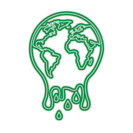 melting globe planet earth warming environment concept vector illustration green neon line graphic