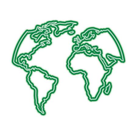 シルエットワールドマップ位置惑星ベクトルイラスト緑ネオンライングラフィック  イラスト・ベクター素材