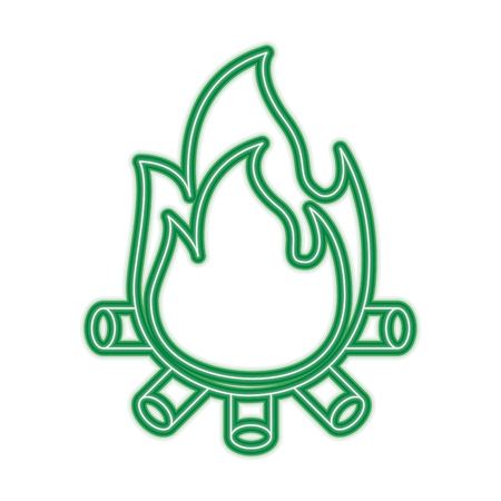 A burning bonfire flame with wooden sticks vector illustration green neon line graphic Illustration