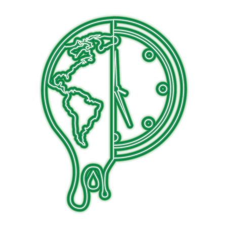 melting earth planet and clock time environment vector illustration green neon line graphic Illustration