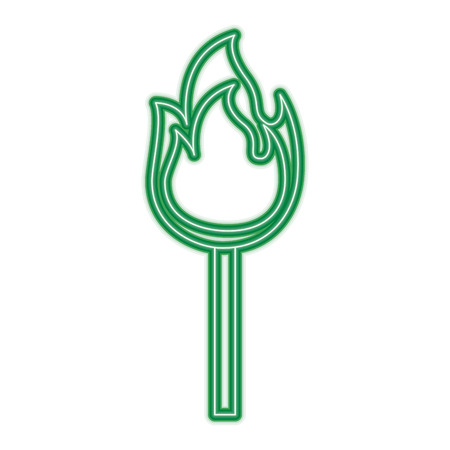 fire stick burn hot flame icon vector illustration green neon line graphic