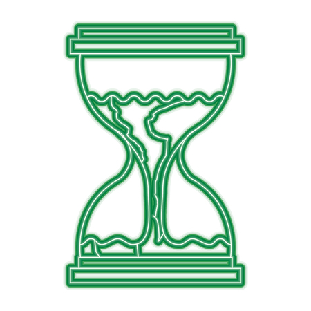A hourglass with a earth globe flowing melting vector illustration green neon line graphic