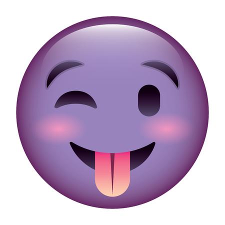 A cute purple smile emoticon tongue out vector illustration Illustration