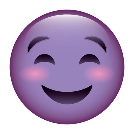 A cute purple smile emoticon happy close eyes vector illustration Reklamní fotografie - 96172890