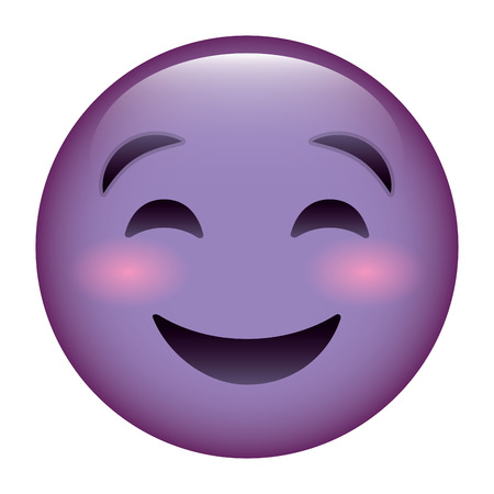 A cute purple smile emoticon happy close eyes vector illustration