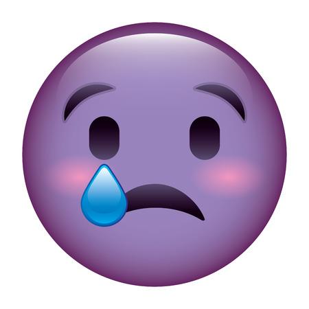 귀여운 보라색 미소 이모티콘 슬픈 눈물 벡터 일러스트 레이션