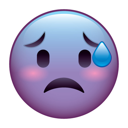 A cute purple smile emoticon worried vector illustration