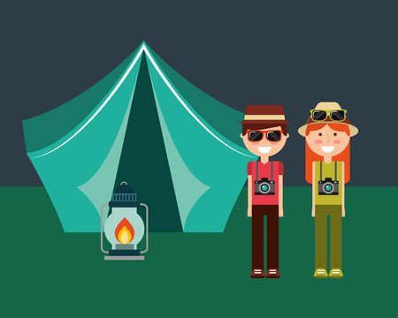 happy couple with camera hat and tent camping lamp burning vector illustration