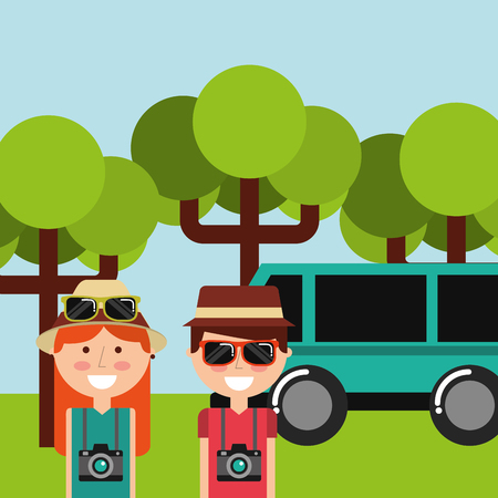 Man and woman happy camera sunglasses in forest tree and car van vector illustration