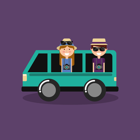 happy couple travelers vacation in car van vector illustration