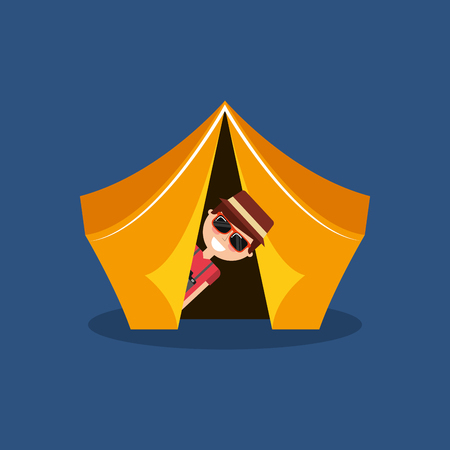 Funny man travelers vacation on tent camping vector illustration Illustration