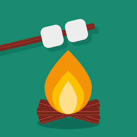 Bonfire with marshmallow, camping grill outdoor. Campfire night with food stick. Vector illustration vector illustration Illustration
