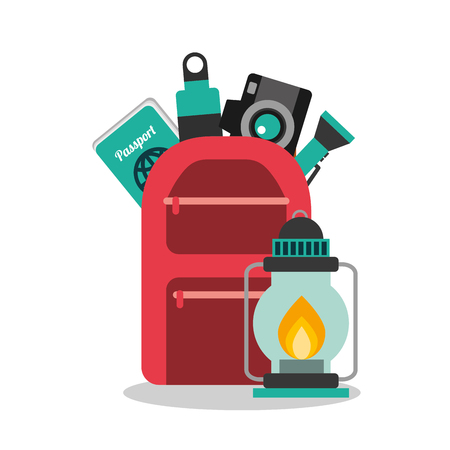 collection vacation travel backpack camera water passport and lantern vector illustration