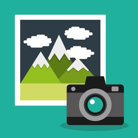 Camera photo gallery album vacation vector illustration