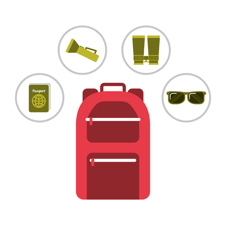 red backpack vacation equipment passport sunglasses lantern vector illustration